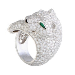 Cartier Panthere Diamond Pave Onyx and Emerald White Gold Ring