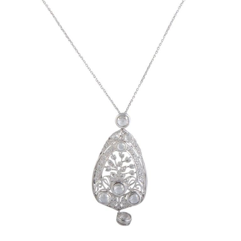 Round and Rose Cut Diamond Platinum Pendant Necklace