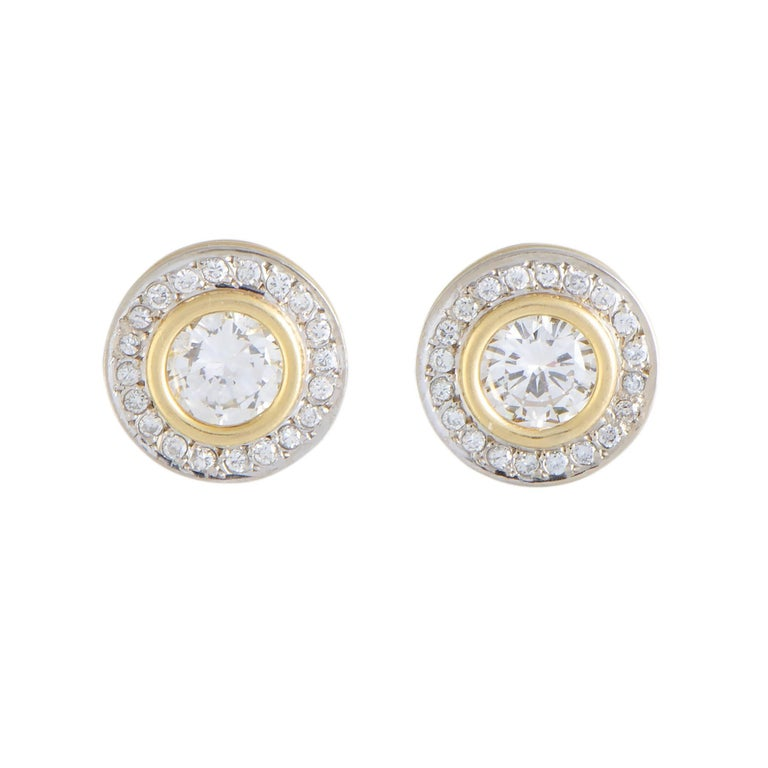 Full Diamond Pave Round Yellow and White Gold Stud Earrings