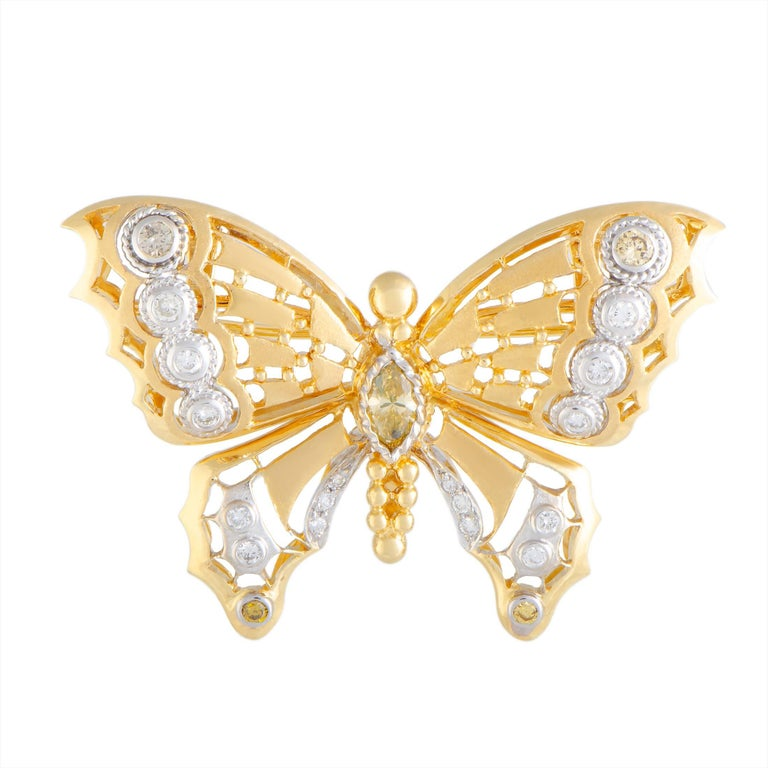Diamond Yellow and White Gold Butterfly Brooch/Pendant