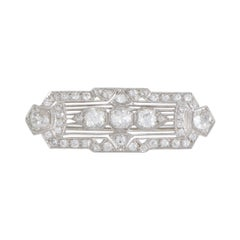 Diamond Pave Platinum Rectangular Brooch