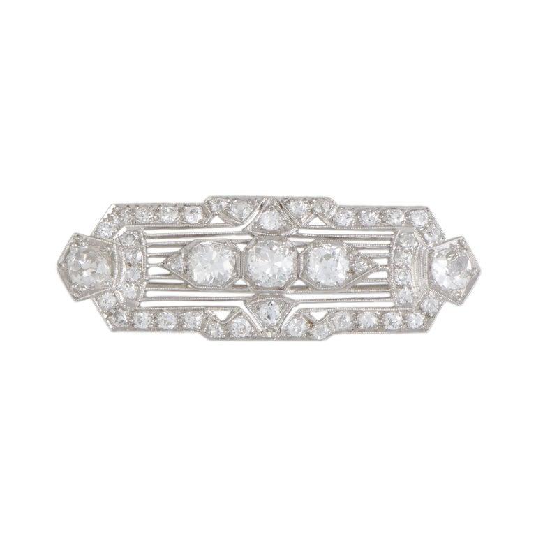Diamond Pave Platinum Rectangular Brooch