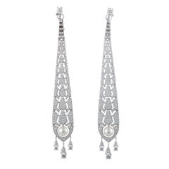 Cartier Evasions Joaillieres Diamond Pave and Pearl Drop Earrings