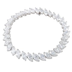 Harry Winston Marquis Diamonds Riviere Platinum Tennis Bracelet
