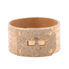 Hermes Kelly Brown Diamond Pave Alligator Leather Pattern Cuff Bracelet