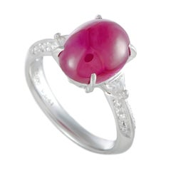 Ruby and Diamond Platinum Cocktail Ring