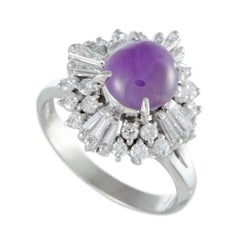 Purple Sapphire and Diamond Platinum Cocktail Ring