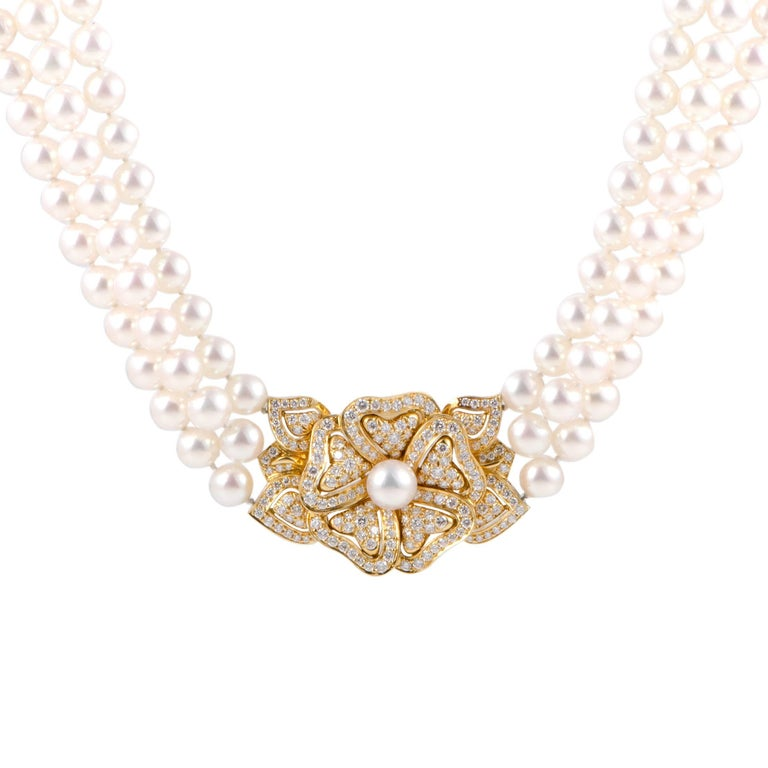 Mikimoto Diamond Yellow Gold Flower Pendant and Pearl Collar Necklace