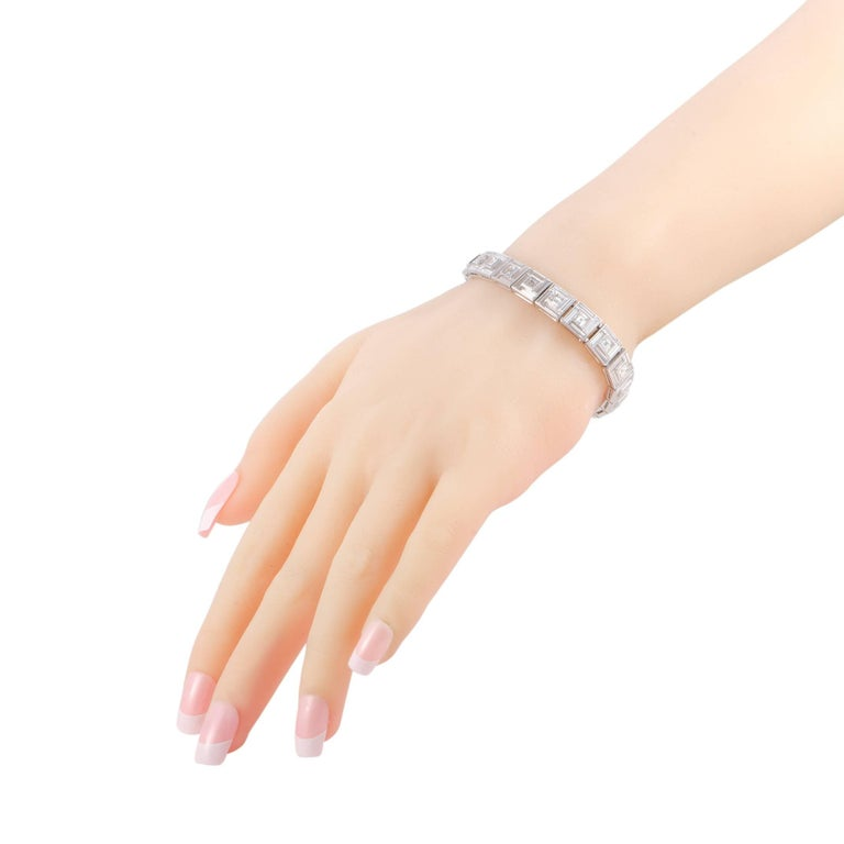 The ever-appealing sense of timeless elegance and refined prestige that the Tiffany & Co. designs are renowned for is present in this exceptional vintage piece that is masterfully crafted from luxurious platinum. The bracelet is beautifully set with