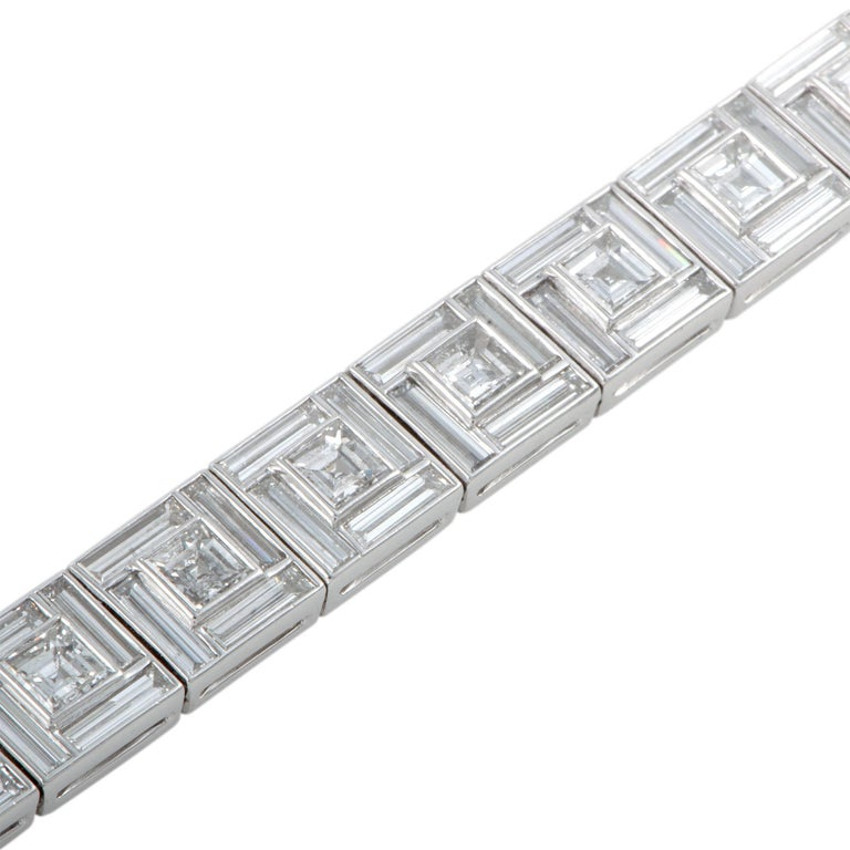 Tiffany & Co. Diamond Platinum Square Link Bracelet In Excellent Condition For Sale In Southhampton, PA
