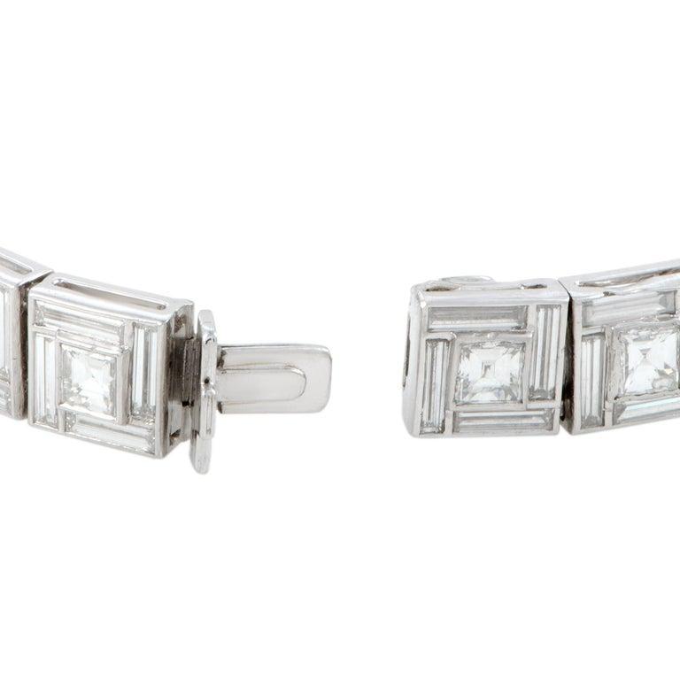 Women's Tiffany & Co. Diamond Platinum Square Link Bracelet For Sale
