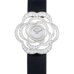 Chanel Camelia Collection Ladies Diamond White Gold Quartz Wristwatch