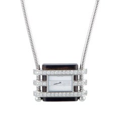 Van Cleef & Arpels Diamond White Gold Pendant Quartz Watch Necklace