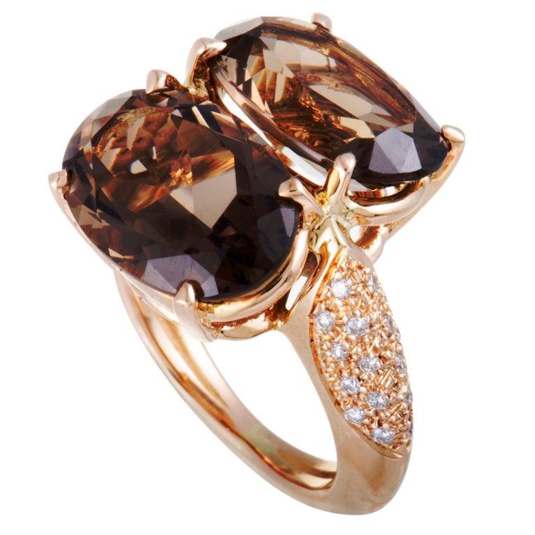 Antonini Panama Diamond and Double Smoky Topaz Rose Gold Ring
