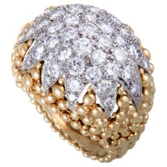 David Webb Diamond Pave Yellow Gold and Platinum Bombe Ring
