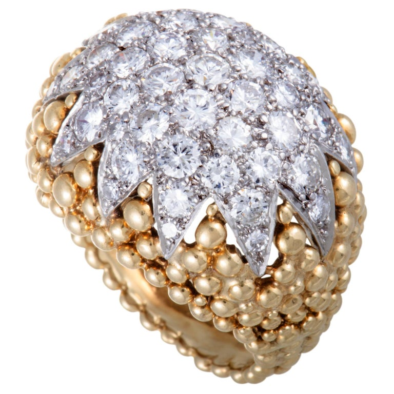 David Webb Diamond Pave Yellow Gold and Platinum Bombe Ring For Sale
