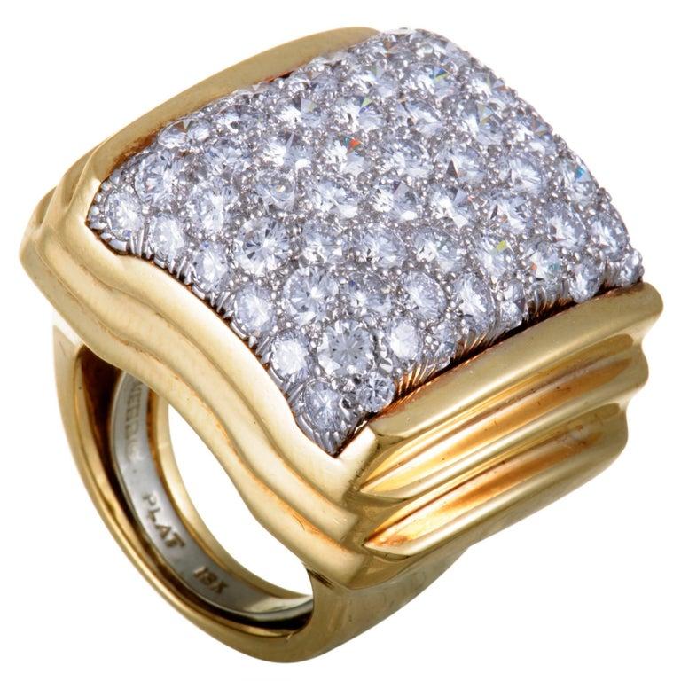 David Webb Diamond Yellow Gold and Platinum Cocktail Ring