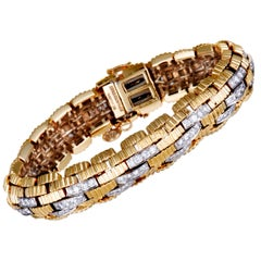 David Webb Diamond Pave Yellow Gold and Platinum Brick Link Bracelet