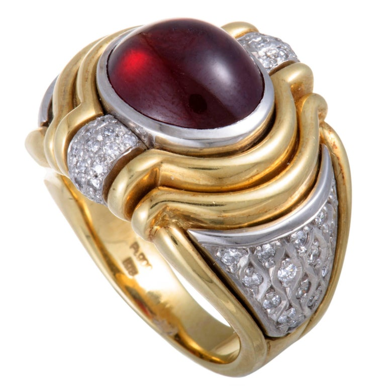 Diamond and Garnet Cabochon Yellow Gold and Platinum Ring