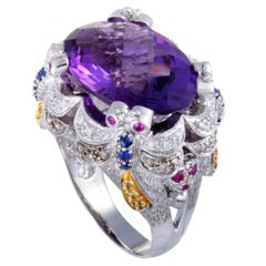 Diamond Sapphire and Amethyst Gold Cocktail Ring