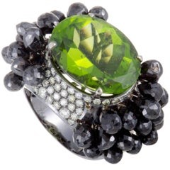 White and Black Diamond Peridot White Gold Cocktail Ring