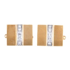 Tiffany & Co. Diamond Yellow and White Gold Rectangular Cufflinks