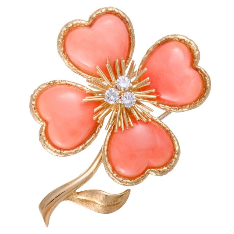 Van Cleef & Arpels Rose de Noël Coral Diamond Yellow Gold Brooch
