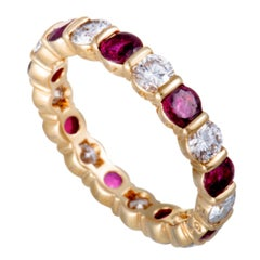Van Cleef & Arpels Diamond and Ruby Yellow Gold Eternity Band Ring