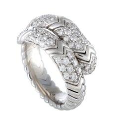 Bulgari Spiga Diamond Pave White Gold Band Ring