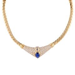 Cartier Diamond and Sapphire Cabochon Yellow Gold Pendant Choker Necklace