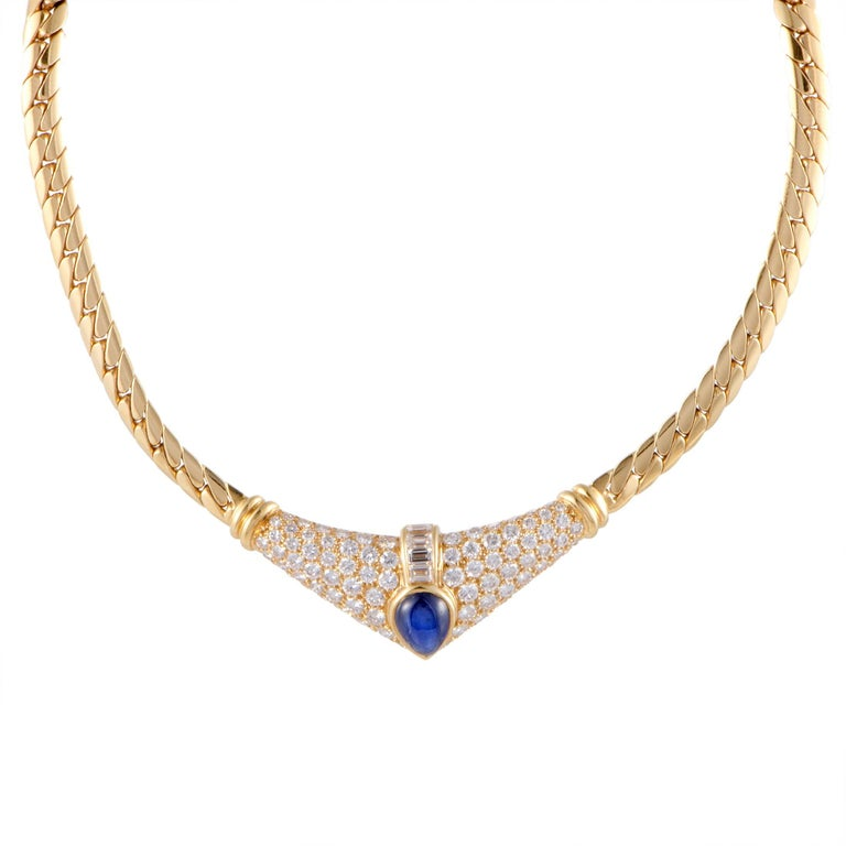 Cartier Diamond and Sapphire Cabochon Yellow Gold Pendant Choker Necklace