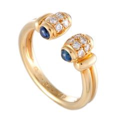 Cartier Diamond Pave and Sapphire Yellow Gold Open Band Ring