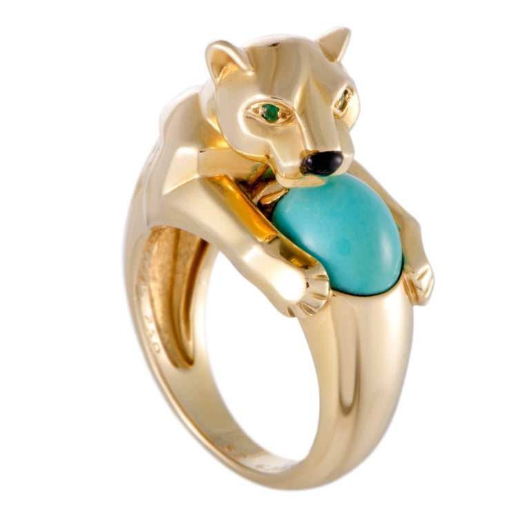 Cartier Panthere Turquoise Onyx and Emerald Yellow Gold Ring