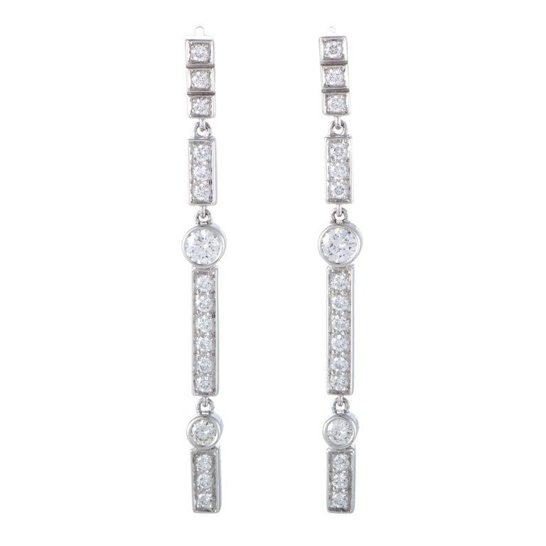 Chanel Diamond Pave White Gold Strand Dangle Earrings