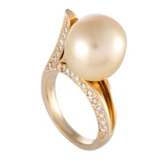 Diamond and Golden Pearl Yellow Gold Ring