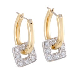 Pomellato Diamond Square Yellow Gold Dangling Hoop Earrings