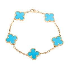 Van Cleef & Arpels Vintage Alhambra Five Motif Turquoise Gold Bracelet