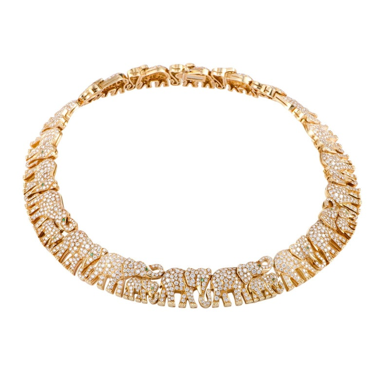 Cartier Diamond Pave and Emeralds Elephant Herd Gold Collar Necklace