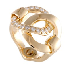 Hermes Diamond Pave Yellow Gold Circle Ring