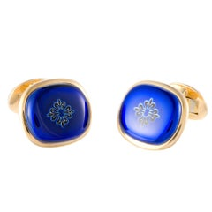 Patek Philippe Nautilus Blue Enamel Yellow Gold Rectangular Cufflinks