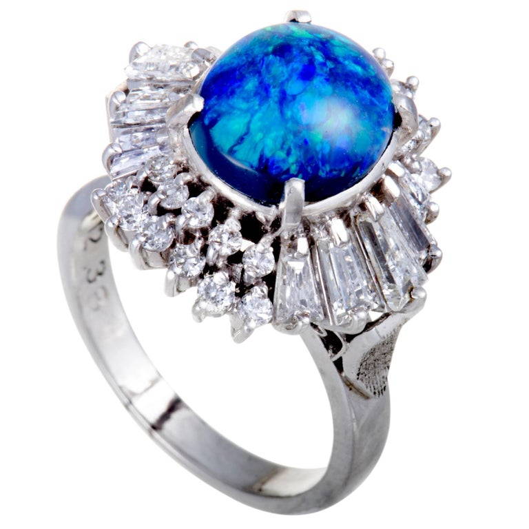 Diamond Green and Blue Opal Platinum Ring