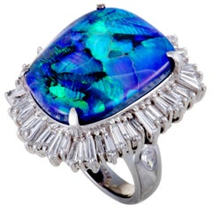 Tapered Baguette Diamonds Green and Blue Opal Platinum Ring