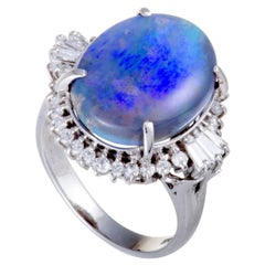 Round and Tapered Baguette Diamond Blue Opal Platinum Ring