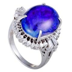 Diamond and Blue Opal Platinum Ring