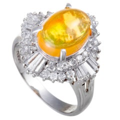 Yellow Fire Opal and Diamond Platinum Ring