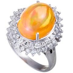 Yellow Fire Opal Diamond Platinum Ring