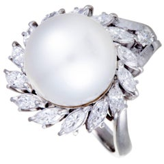 White Pearl Diamond Platinum Ring