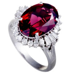 Garnet Diamond Platinum Ring