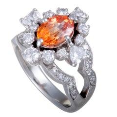 Diamond and Orange Sapphire Platinum Ring