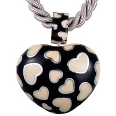 Rossetti Black and Beige Enamel Heart White Gold Pendant Choker Necklace